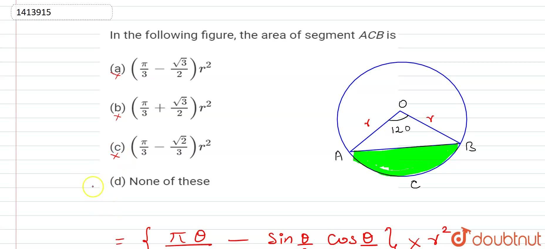 Solution for In Fig. 15.109, the area of segment A C B is