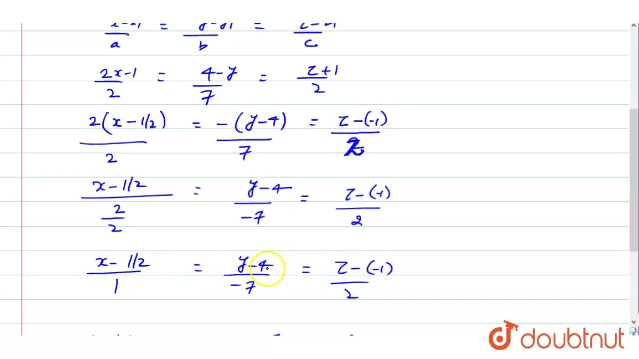 Solution for Cartesian equation of a line A B are (2x-1),2=(