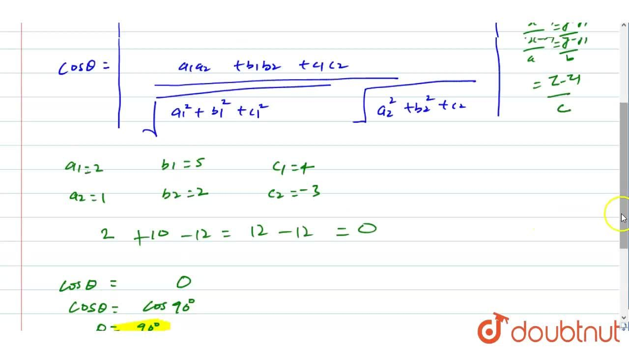 Solution for The angle between the straight lines (x+1),2=(y-2