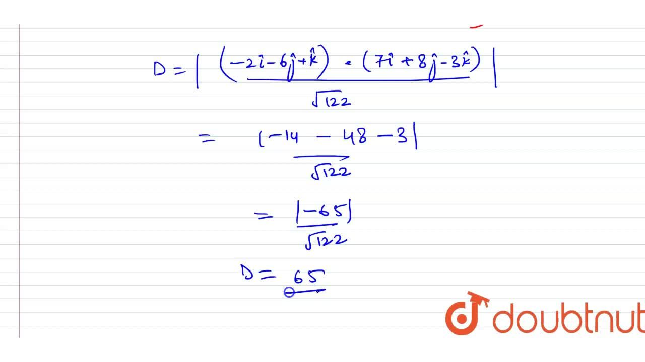 Solution for Find the shortest distance between the lines (x-2