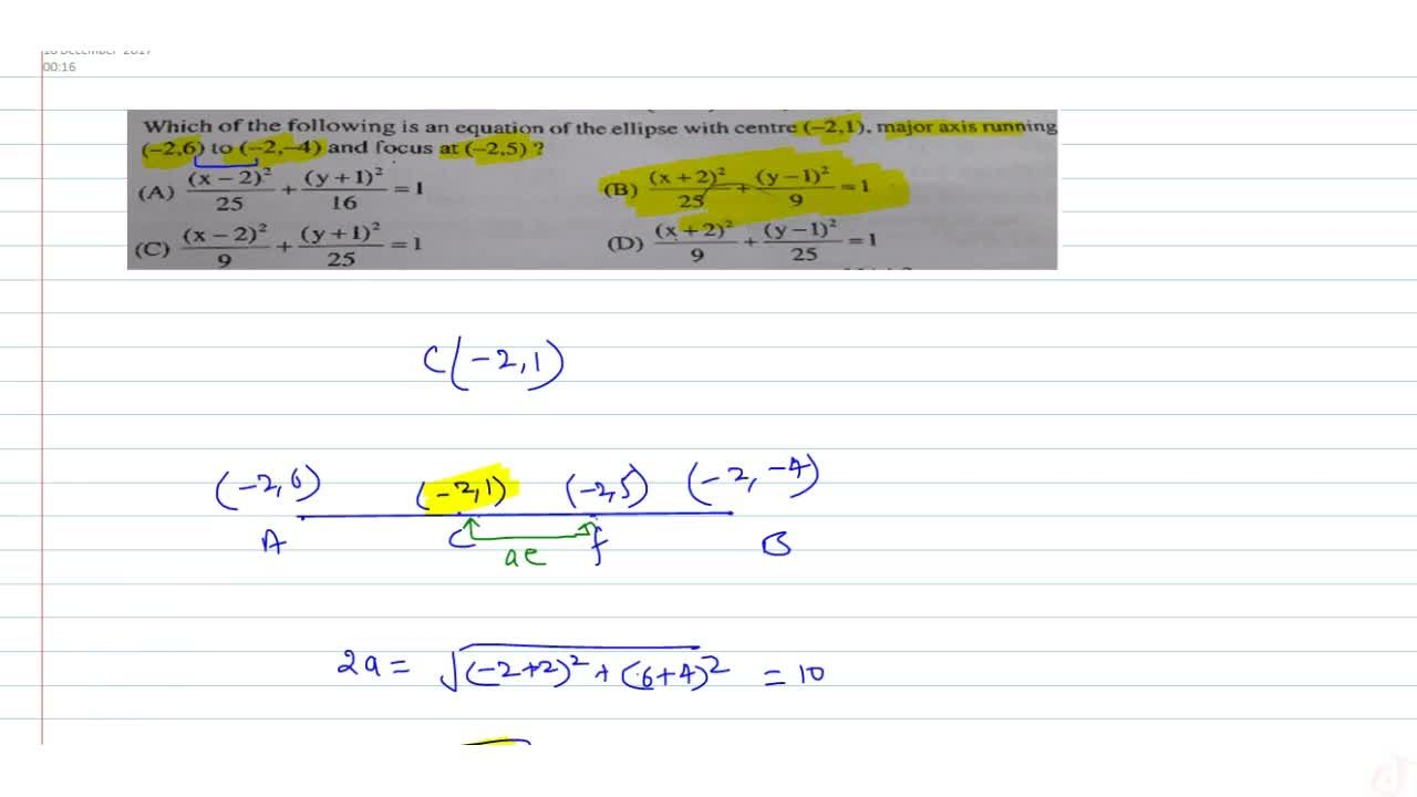 Solution for Which of the following is an equation of the ellip