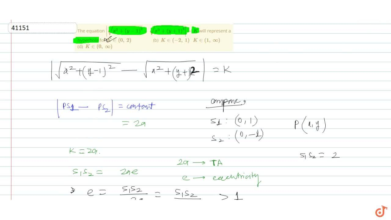 Solution for The equation  sqrt(x^2+(y-1)^2)-sqrt(x^2+(y+1)^2)
