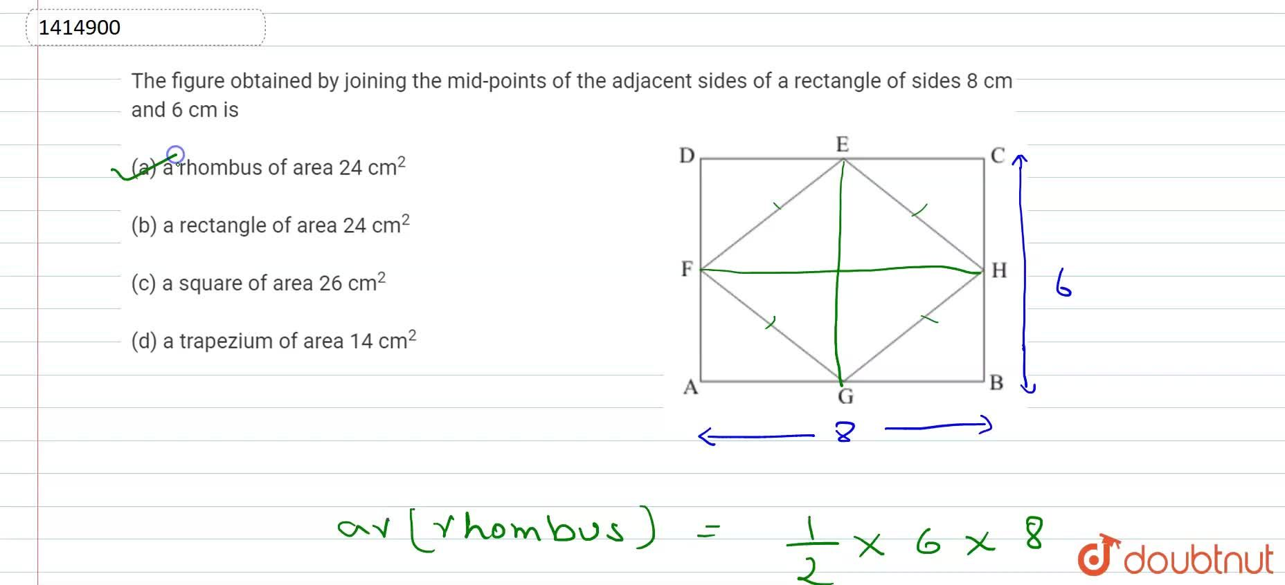 Solution for The figure   obtained by joining the mid-points o