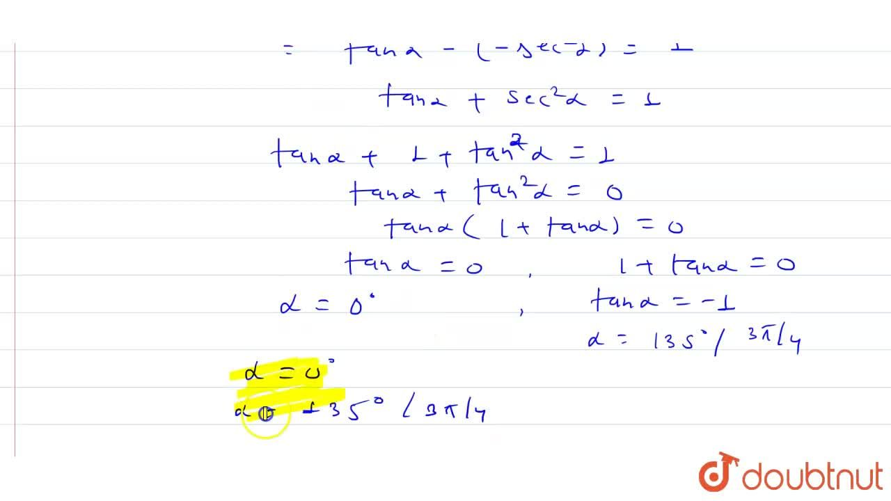 If minor of three-one element (i.e.M_(31)) in the determinant [{:(,0,1,sec alpha),(,tan alpha,-sec alpha,tan alpha),(,1,0,1)]:} is 1 then find the value of alpha (0 le alpha le pi).