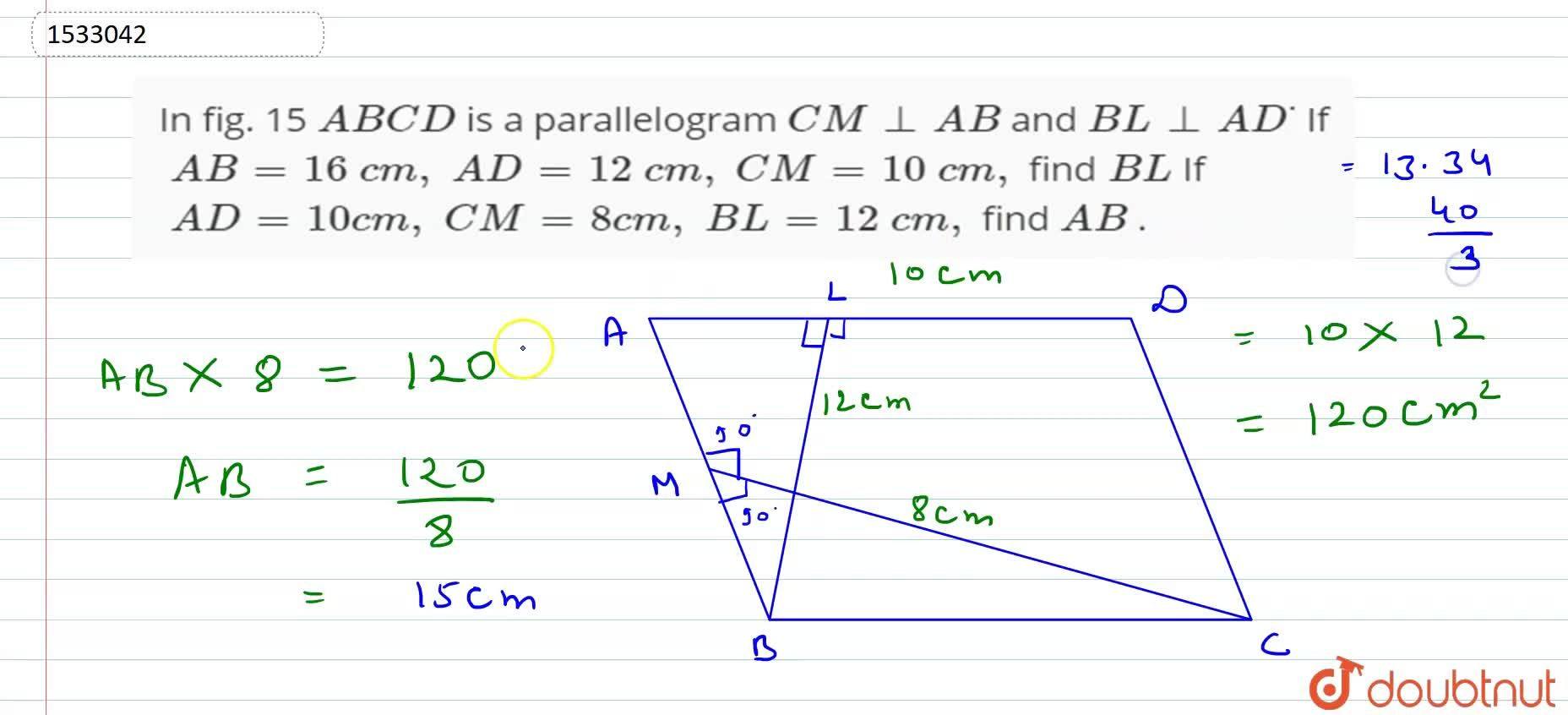 Solution for In fig. 15 A B C D is a parallelogram C M_ _A B