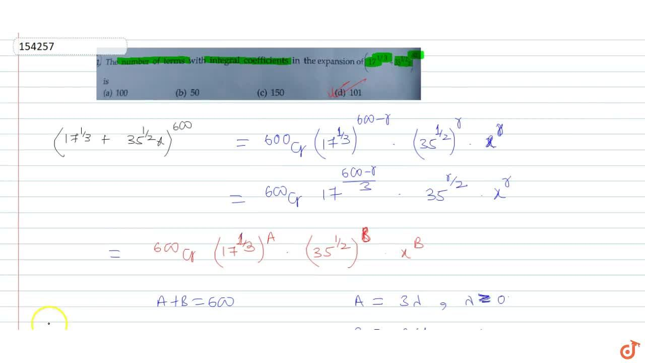 Solution for The number of terms with integral coefficients in