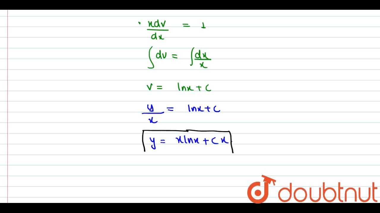 Solve the following differential equations <br> (dy),(dx)=(x+y),(x)