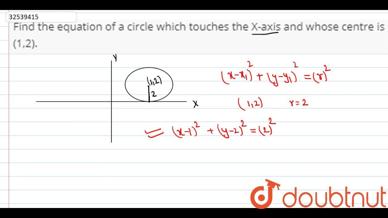 Find the equation of a circle which touches the X-axis and whose centre is (1,2).