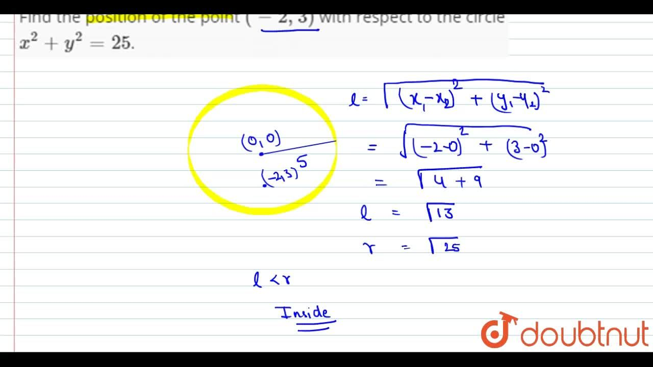Solution for Find the position of the point (-2,3) with respe