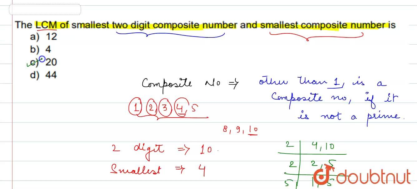 Solution for  The LCM of smallest two digit composite number an