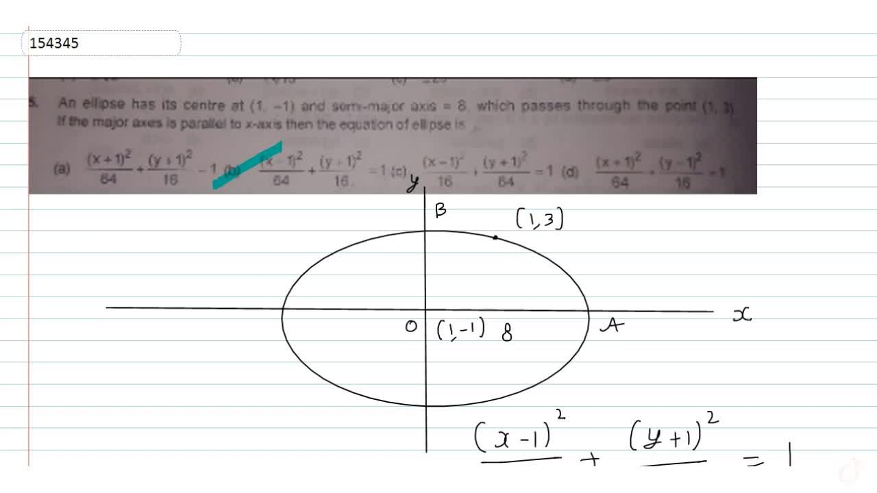 An ellipse has its centre at (1, -1) and semi-major axis = 8, which passes through the point (1, 3).If the major axes is parallel to x-axis then the equation of ellipse is