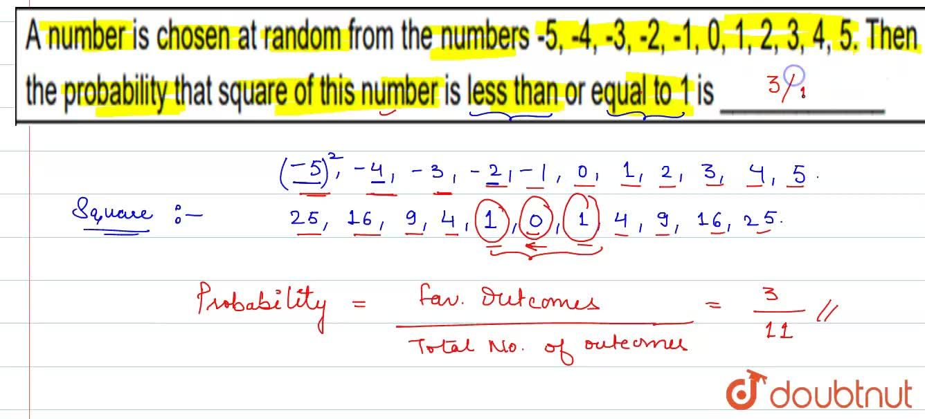 Solution for A number is chosen at random from the numbers -5,
