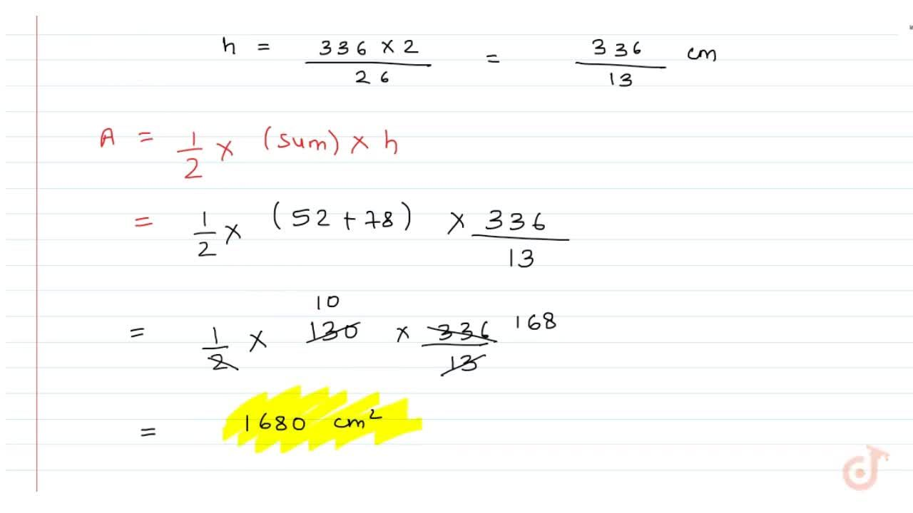 Solution for ABCD is a trapezium in which AB    DC, ABデ78 cm, C