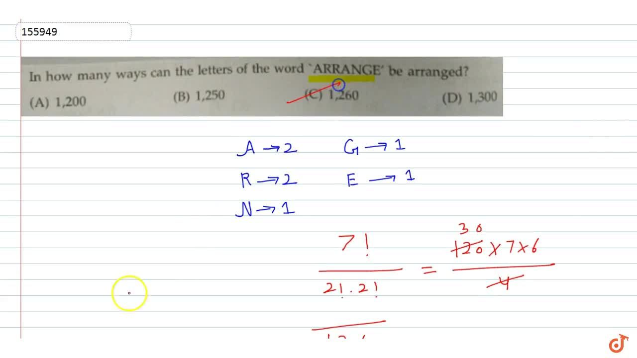 In how many ways can the letters of the word ARRANGE' be arranged