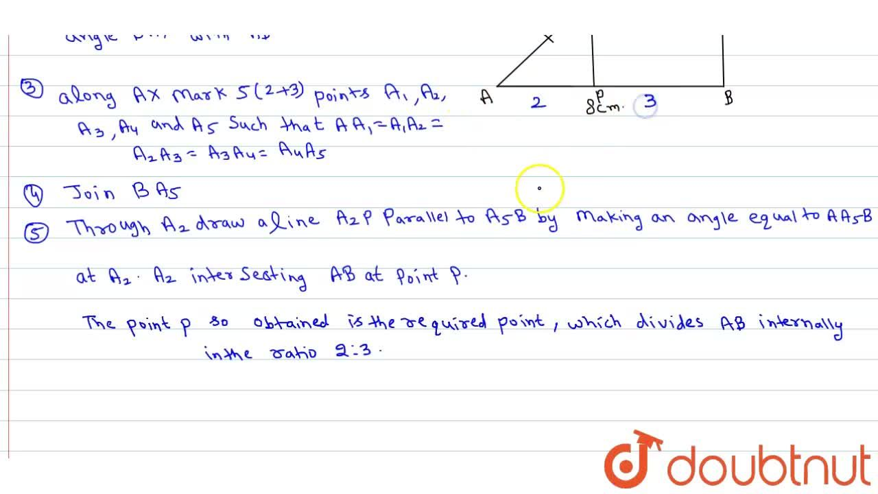 Solution for Draw a line segment of length 8 cm and divides it
