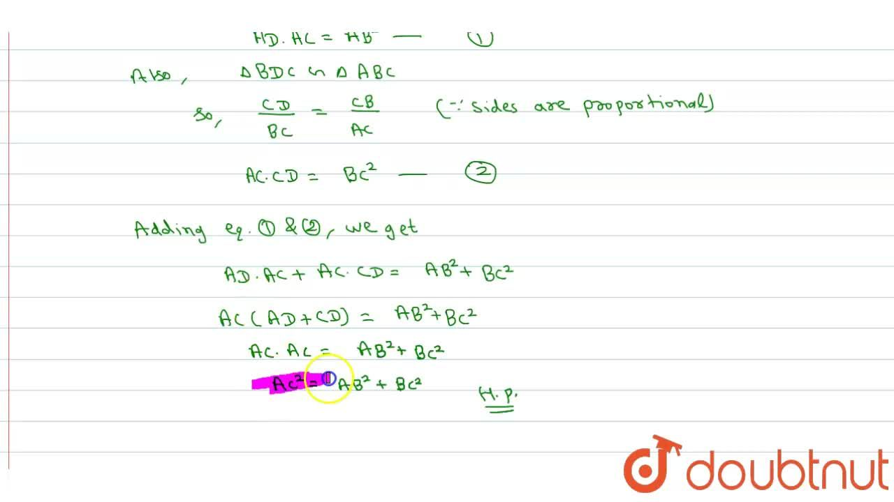 Solution for State and prove the Pythagoras theorem.