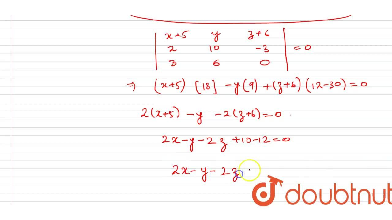 Find the equation of the plane passing through the following points: (-5,\ 0,\ -6),\ (-3,\ 10 ,\ -9)a n d\ (-2,\ 6,\ -6)dot