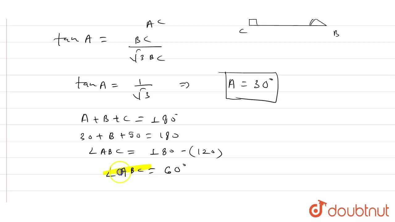 Solution for ABC is a right triangle right angled at C and AC =