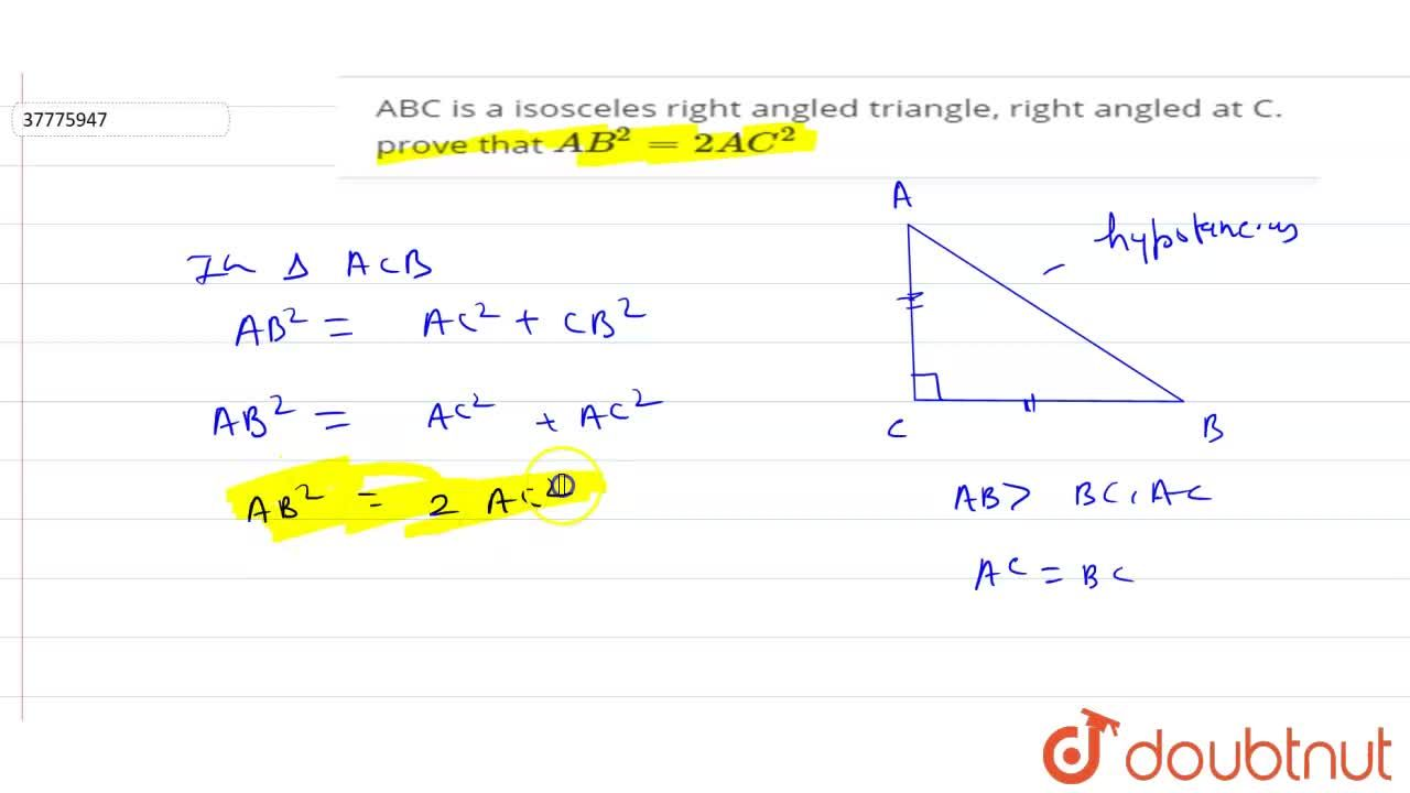 Solution for ABC is a isosceles right angled triangle, right an