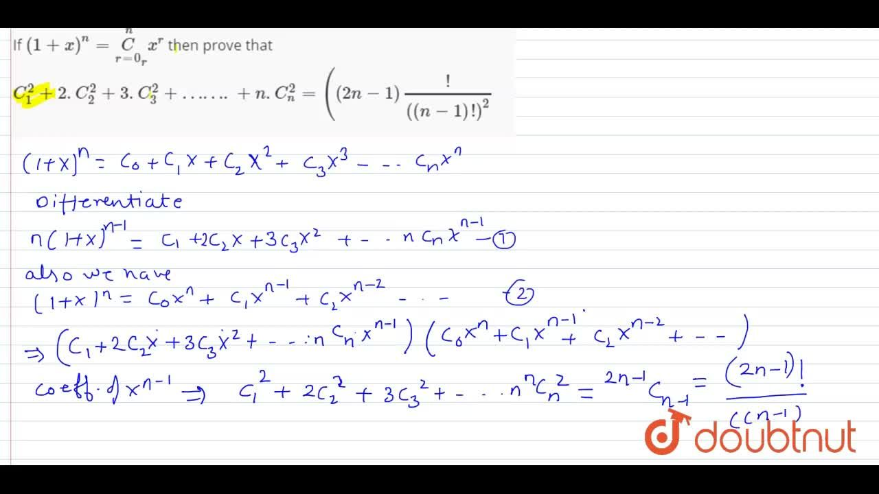 Solution for If (1+x)^n=underset(r=0)overset(n)C_(r)x^r then