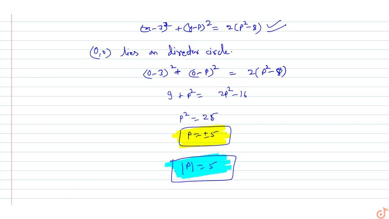 If two perpendicular tangents can be drawn from the origin to the   circle x^2-6x+y^2-2p y+17=0 , then the value of |p| is___