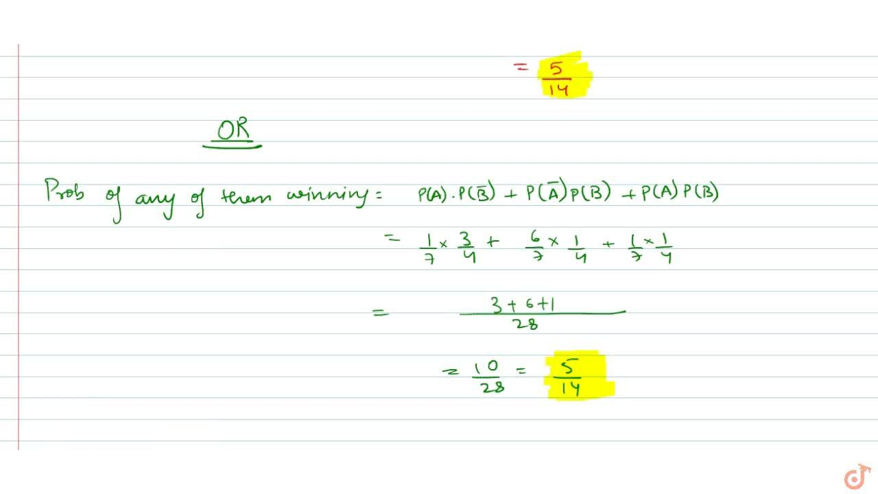 Solution for . In a race, the probability of A to win the race