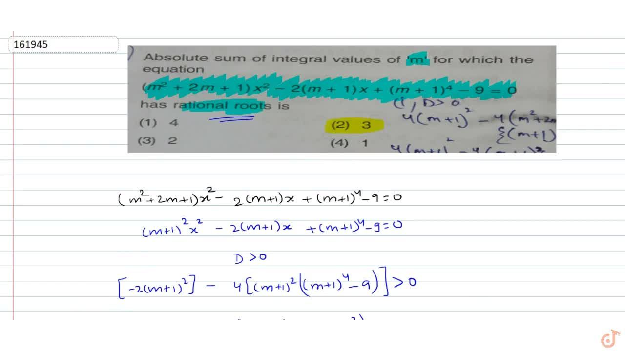 Solution for  Absolute sum of integral values of m for which