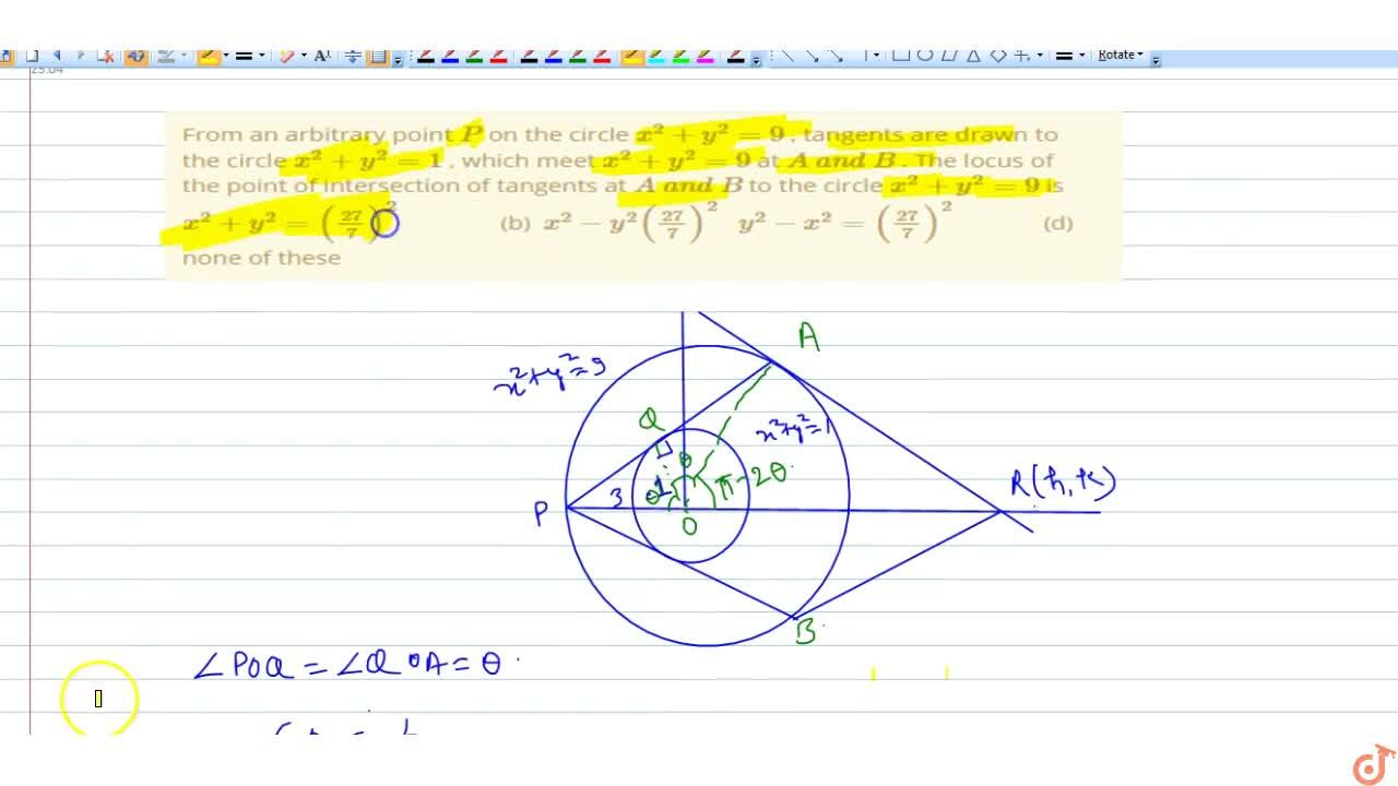 Solution for From an arbitrary point P on the circle x^2+y^2