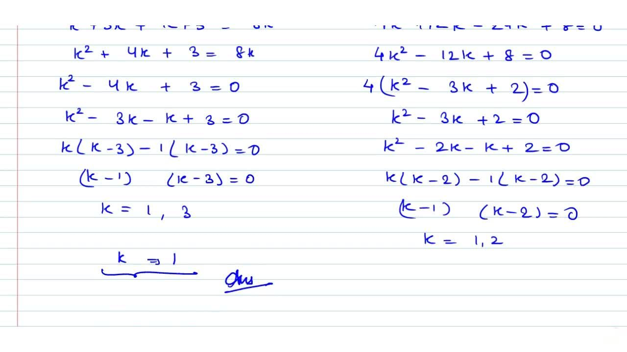Solution for The number of values of k for which the lines (