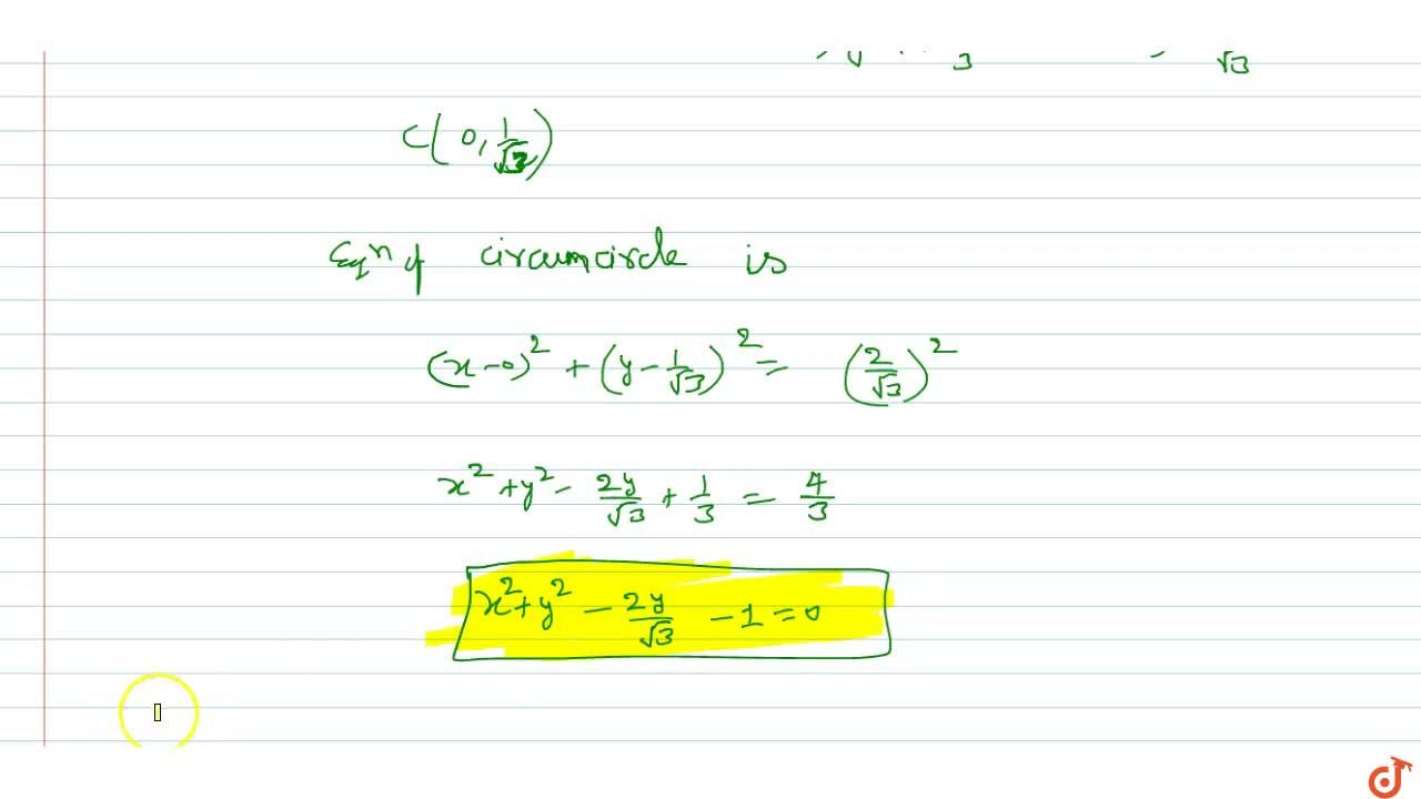 Solution for Two vertices of an equilateral triangle are (-1,0