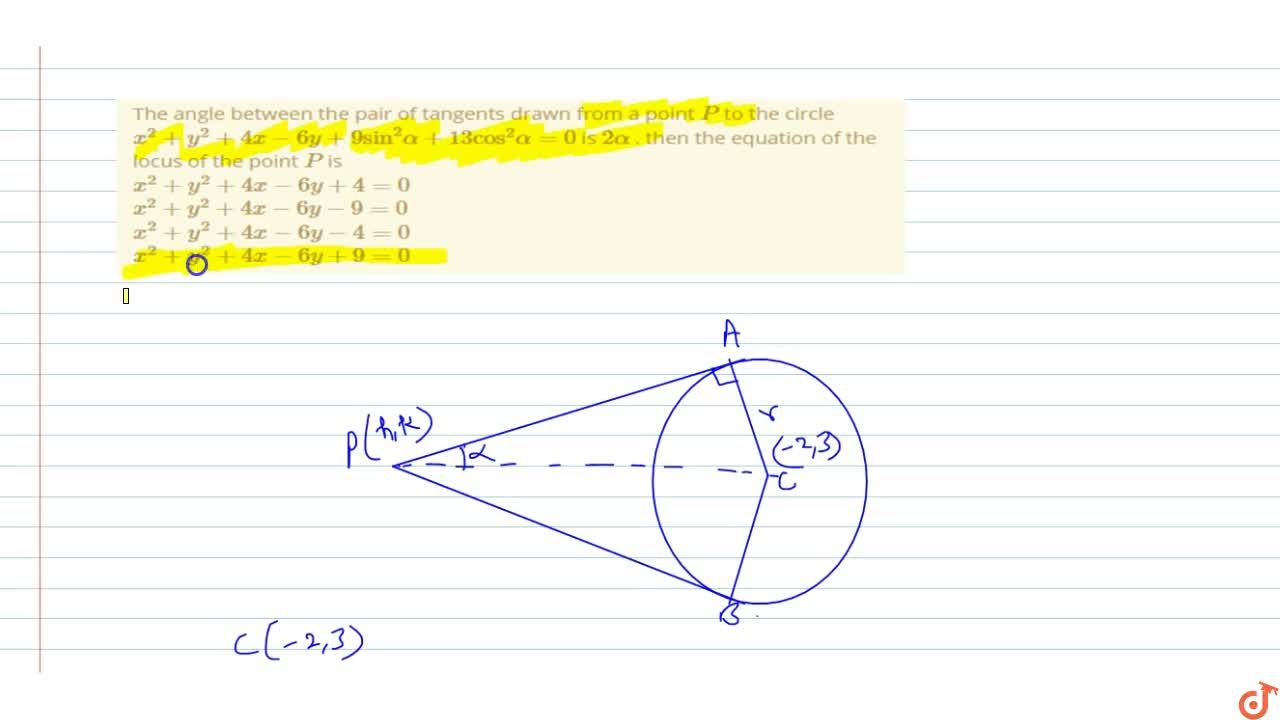 Solution for The angle between the pair of tangents drawn from