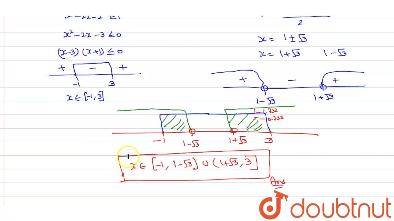 Solution for Solve  log_(10)(x^(2)-2x-2) le 0.