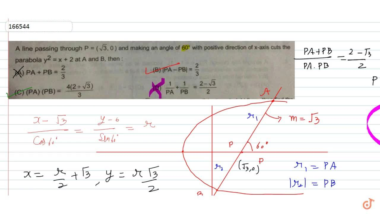 Solution for  A line passing through P = (sqrt3,0) and making