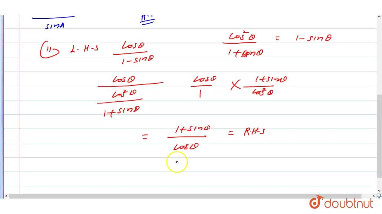 Solution for Prove that  :    (i)  (1-cosA),(sinA)=(sinA),(1+c