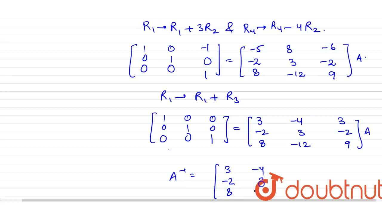 Solution for Find the inverse using   elementary row transform