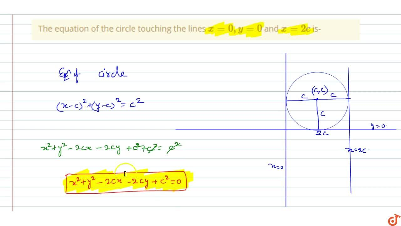 Solution for  The equation of the circle touching the lines x