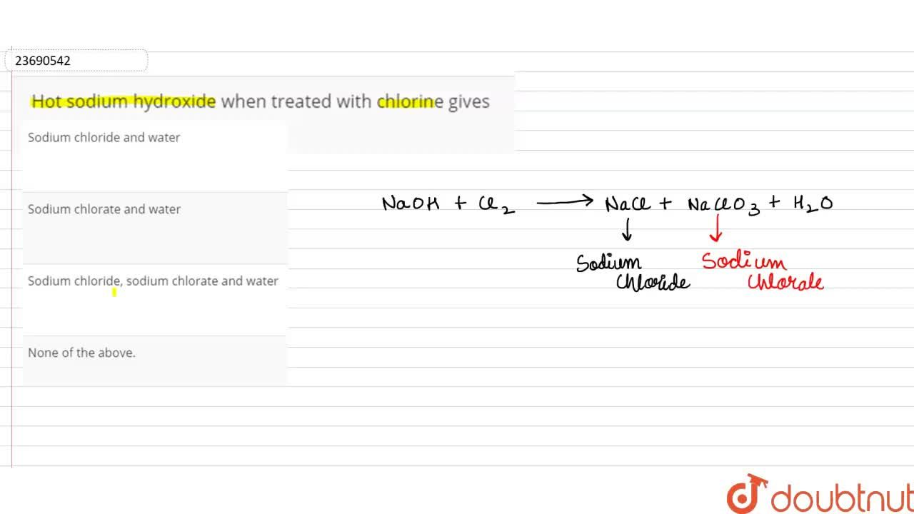 Solution for Hot sodium hydroxide when treated with chlorine gi