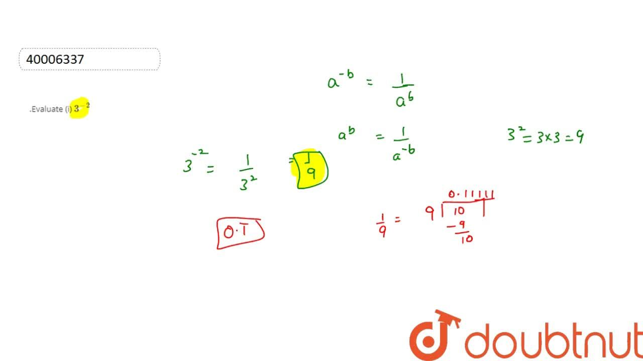 Solution for  .Evaluate (i)  3^(-2)