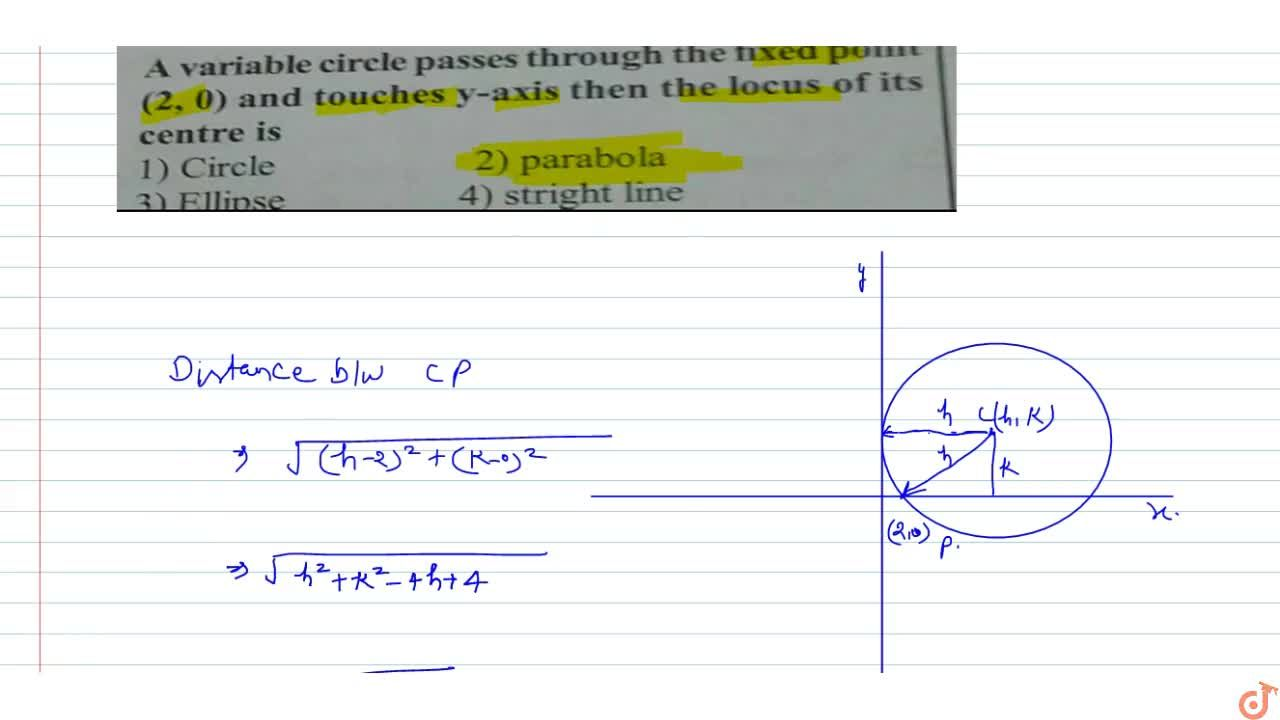 A variable circle passes through the fixed point (2, 0) and touches y-axis then the locus of its centre is