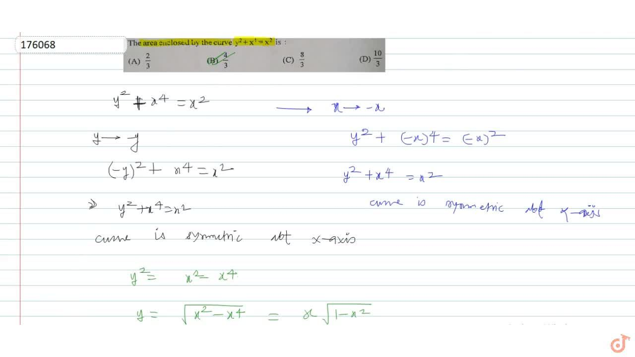 The area enclosed by the curve y^2 +x^4=x^2 is