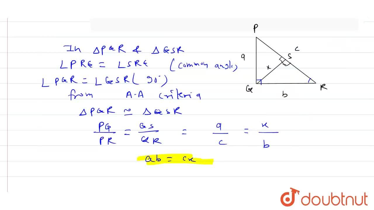 Solution for In a right angled with sides a and b and hypotenus