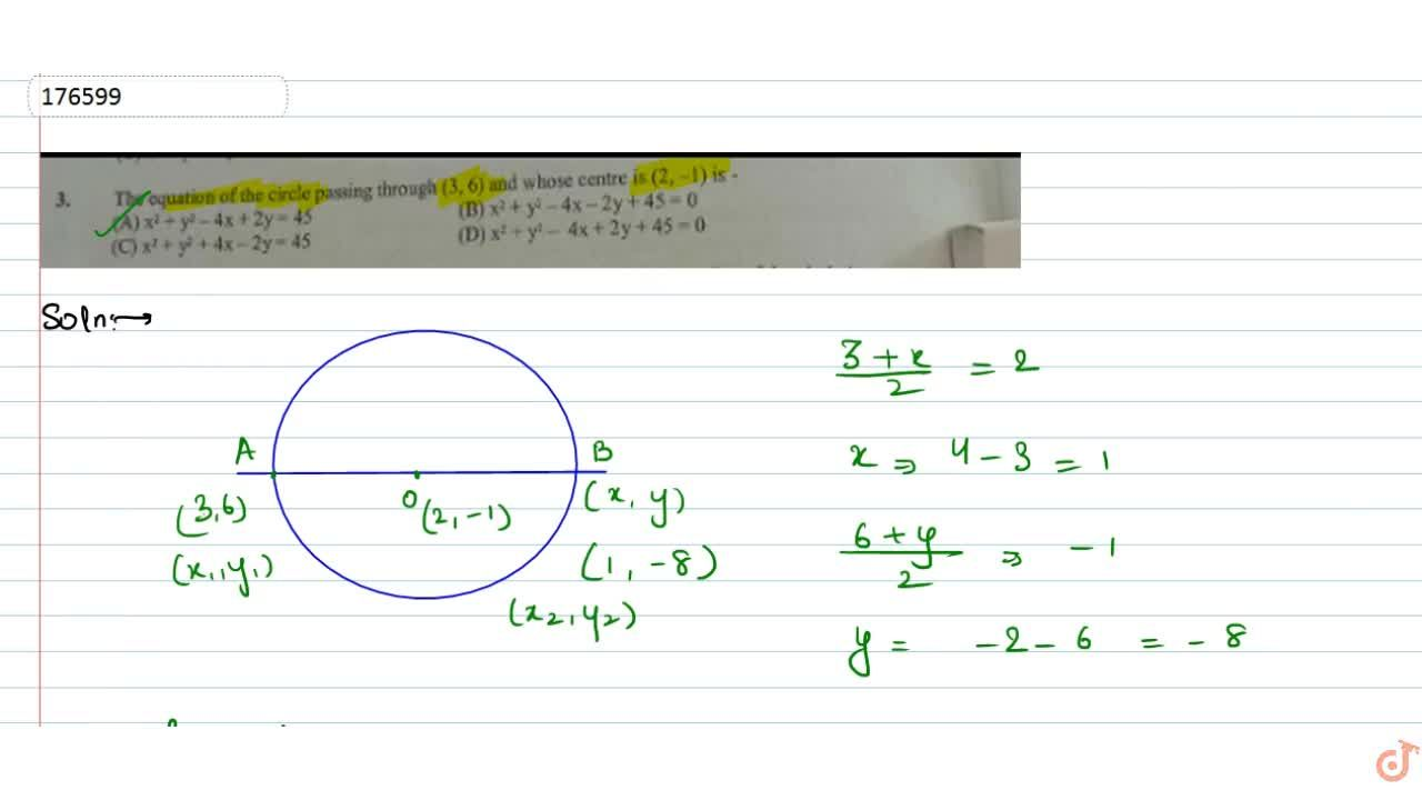 Solution for  3.The equation of the circle passing through (3,6