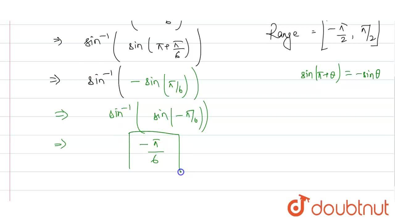 Solution for Evaluate the following inverse trigonometric expre