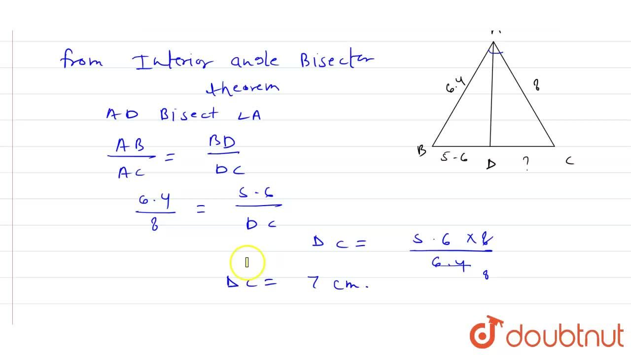 Solution for If in triangleABC, AD is the bisector of angleA