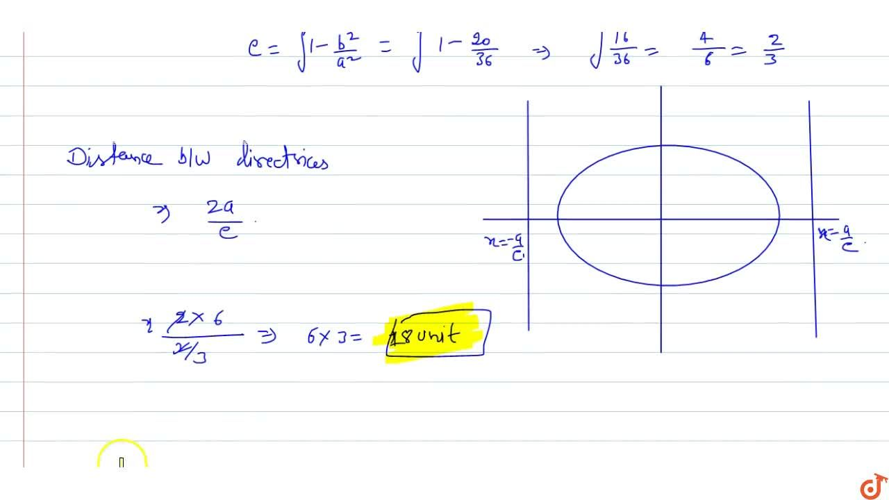 Find the distance between the directrices of   the ellipse (x^2),(36)+(y^2),(20)=1.