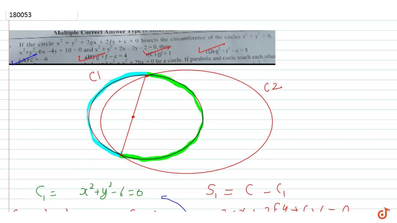 Solution for If the circle  x^2 + y^2 + 2gx + 2fy + c = 0 bis