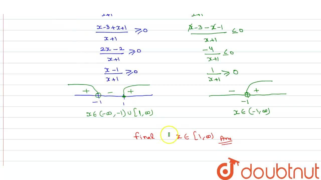 Solution for  Solve |(x-3),(x+1)| le 1