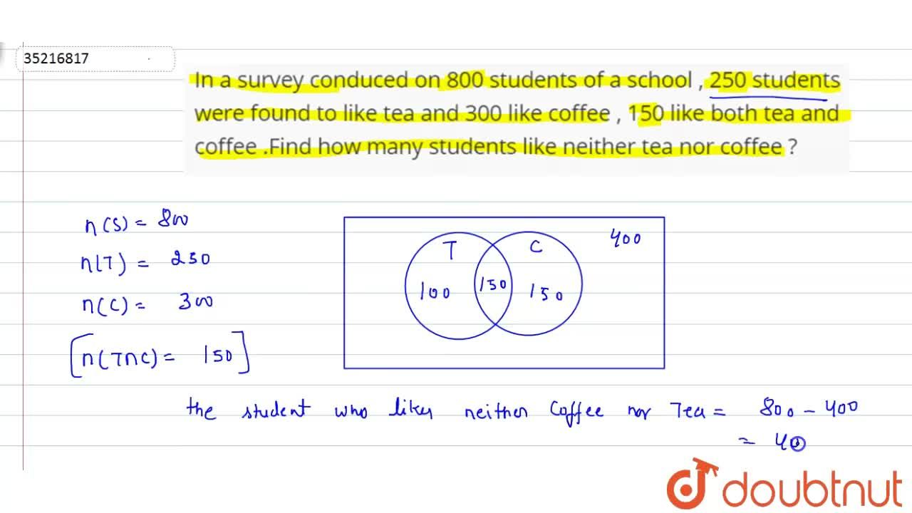 Solution for In a survey conduced on 800 students of a school ,