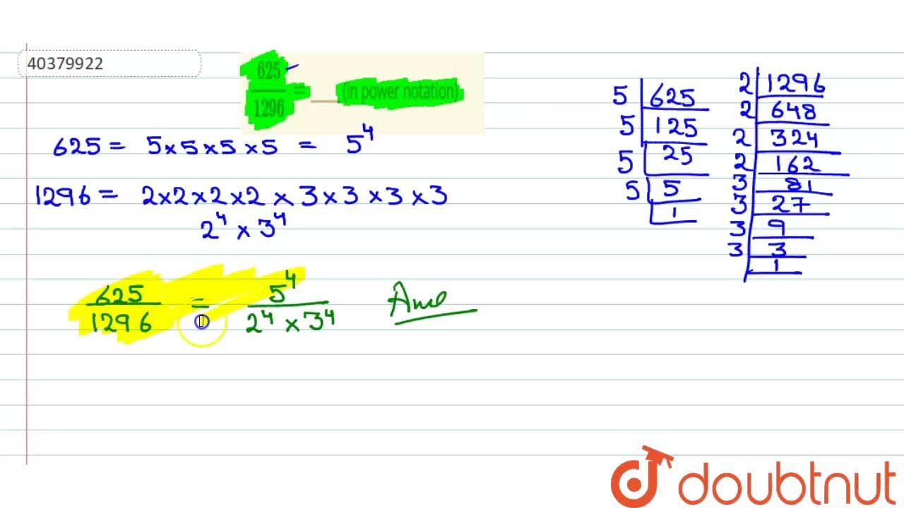 Solution for (625),(1296)=_____ (in power notation)