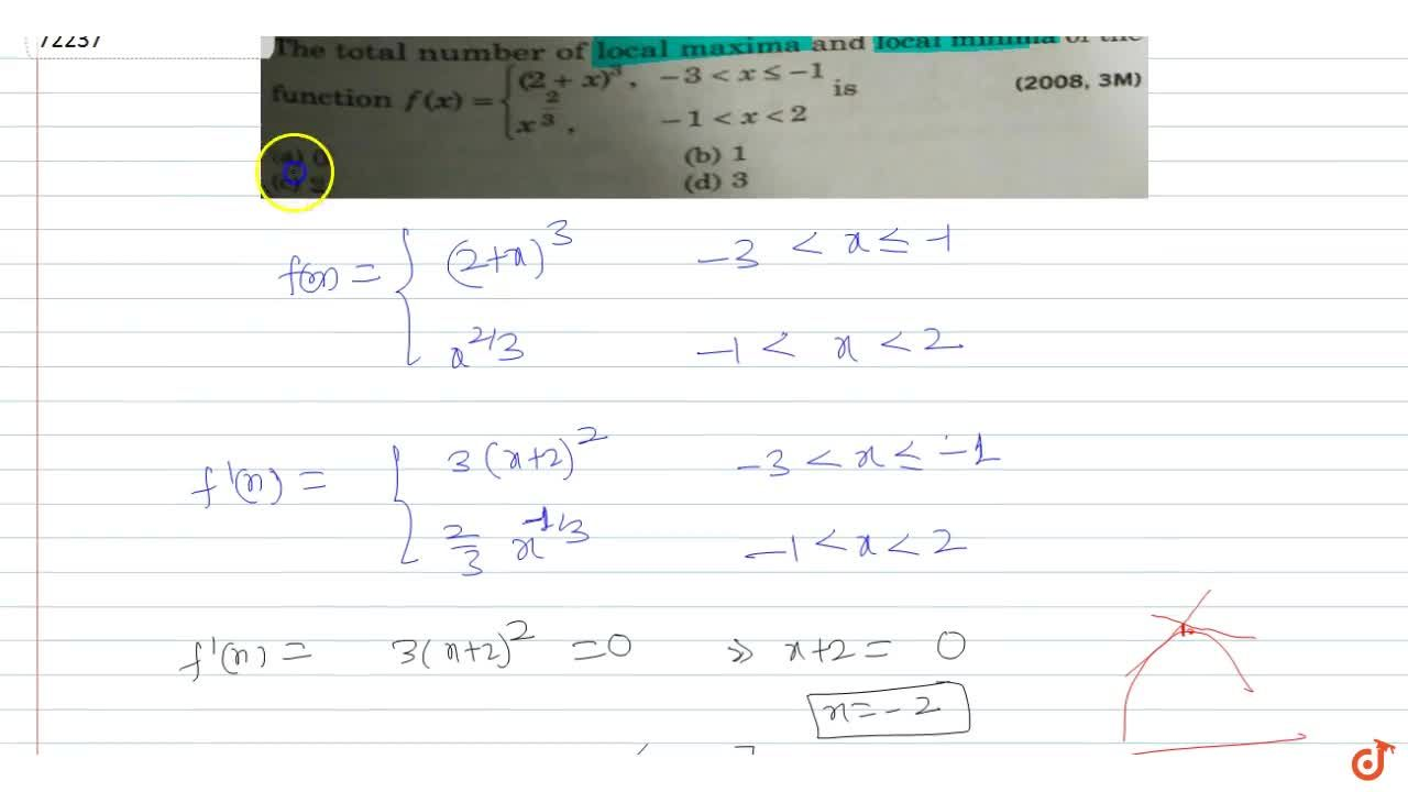 Solution for  e total number of local maxima and local minima o